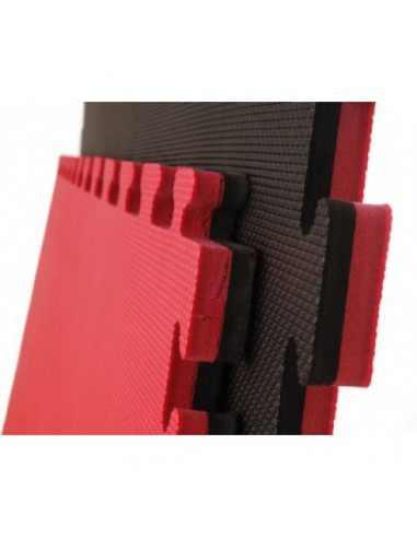 Tatami PUZZLE 1x1m y 4 cm Negro/Rojo Reversible