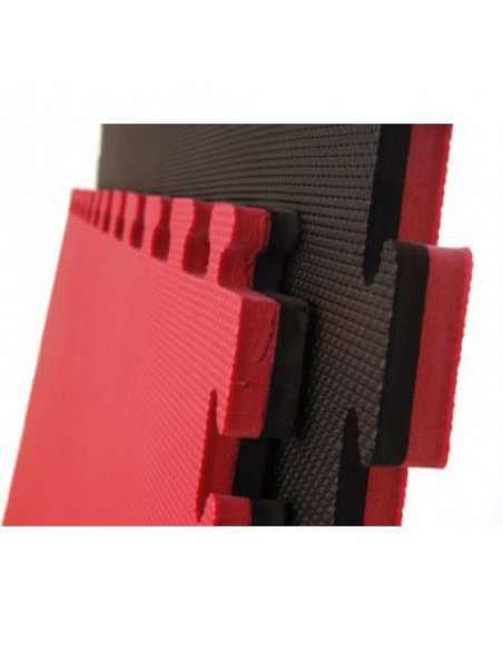 Suelo para geriátrico PUZZLE 1x1m y 4 cm Negro/Rojo Reversible